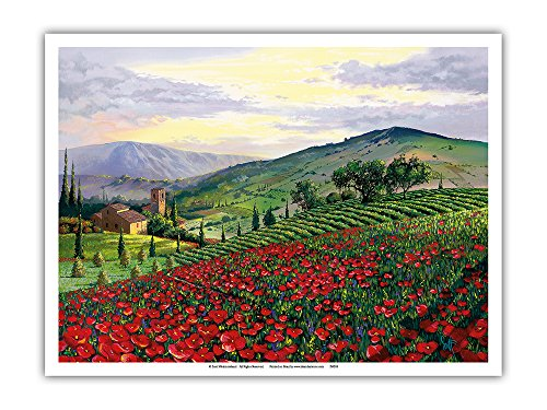 Timeless Tuscany - Italy - Flowerfield of Poppies - From an Original Color Painting by Scott Westmoreland - Master Art Print - 9in x 12in
