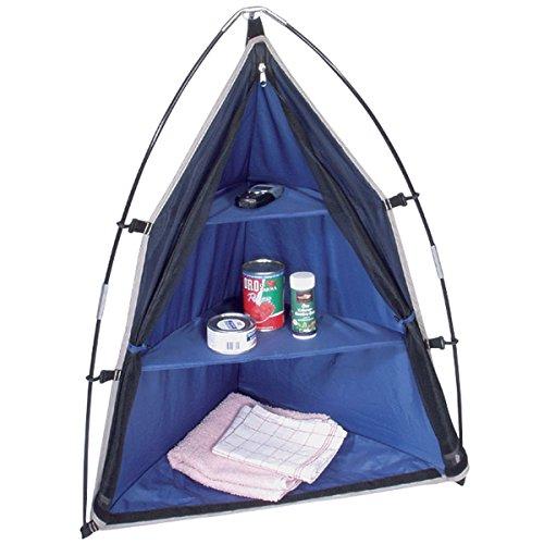 Siehe Beschreibung PE Zelt-Eck-Schrank MORA blau mit Fiberglasstangen 70x50x90cm - Camping Zeltschrank Eck Regal Aufbewahrungs Zelt Vorrats Schrank Kleider Reisen
