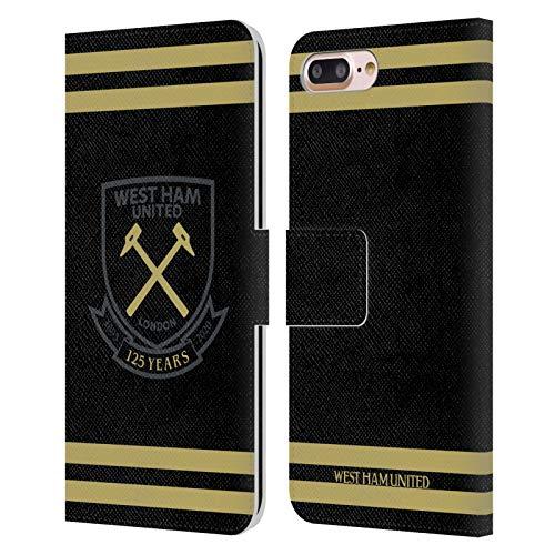 Head Case Designs Oficial West Ham United FC Negro Oro Rayas Claret 125 Año Aniversario Carcasa de Cuero Tipo Libro Compatible con Apple iPhone 7 Plus/iPhone 8 Plus