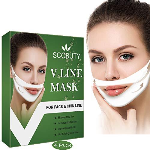 V Maske,V Linie Maske,V Shaped Slimming Mask,V Gesichtsmasken,V Maske Lifting, Face Chin up Lift für Anti Falten Kinnlifting Gesichtsformung Straffung Feuchtigkeitsspendende