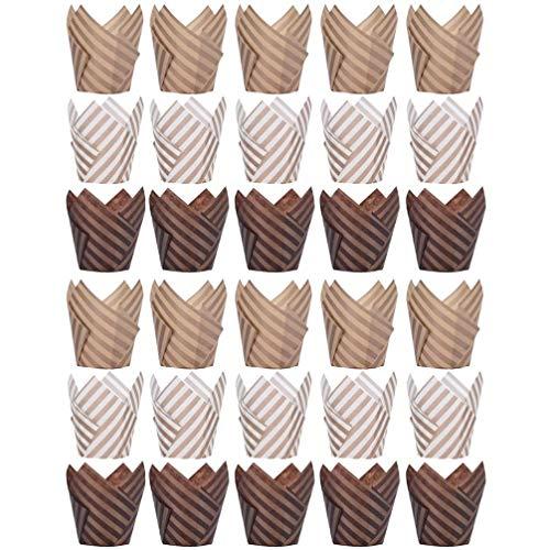 Angoily 100 Piezas de Tulipán de Papel para Hornear Cupcake Forros de Papel Pergamino Muffin Tazas de Lata Tamaño Estándar Envoltorios Resistentes a La Grasa (Color Aleatorio)