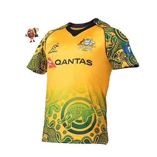 Training Rugby-Trikot, 17-18 Australien Wallabies Commemorative Edition Rugby-Trikot, Herren Sommer Fußball Kurzarm Casual T-Shirt Kleidung Sportswear-XXL