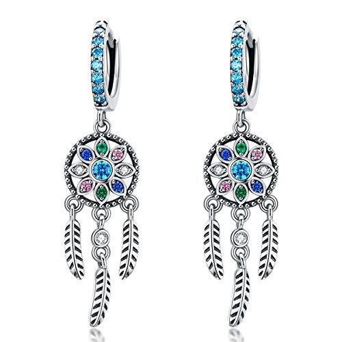 NewL Bohemia Atrapasueños colgantes pendientes colgantes para mujer, estilo bohemio, plata de ley 925, joyería de moda regalos