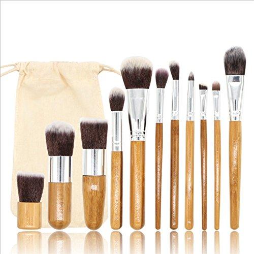 Pinceaux de maquillage, Premium Lot de brosse de maquillage, poignée en bambou Brosse Cosmétique Définit, outils de maquillage avec sac en toile