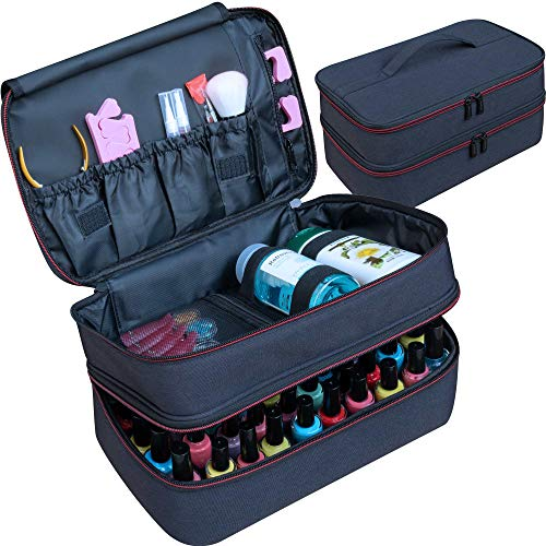 ButterFox Large Nail Polish Storage Organizer Holder Carrying Case Bag, Fits 40-55 Bottles (0.5 fl oz - 0.3 fl oz), Pockets for Manicure Accessories (Black/Red)