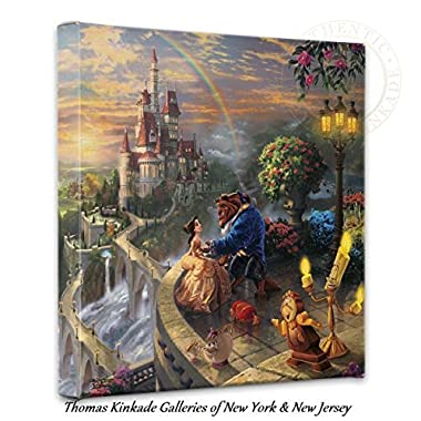 Thomas Kinkade - Gallery Wrapped Canvas , Beauty and the Beast Falling in Love , 14  x 14  , 55392