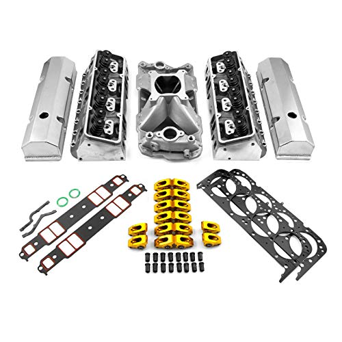 PCE by Speedmaster PCE435.1061 Fits Chevy SBC 350 Hyd FT 220cc Straight Plug Cylinder Head Top End Engine Combo Kit