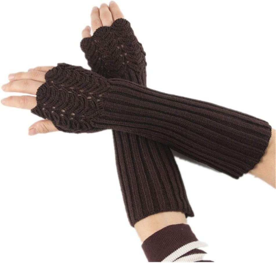 YYOBK SHt Four Seasons General Ladies Warm Soft Knitted Gloves, Long Wrist Fingerless Gloves, Suitable for Outdoor Activities (Color : Dark Brown)
