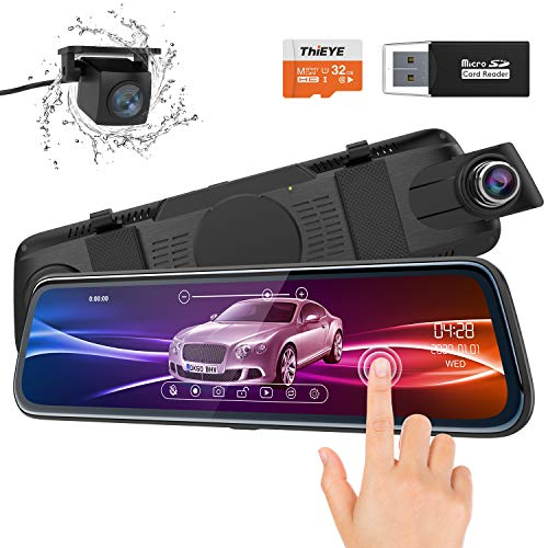 ThiEYE Backup Camera Mirror Dash Cam 1080P 10' IPS Full Touch Screen Front and Rear Dual Lens Waterproof Car Camera with Super Night Vision, 170° Wide Angle, G-Sensor (32GB TF Card Included)