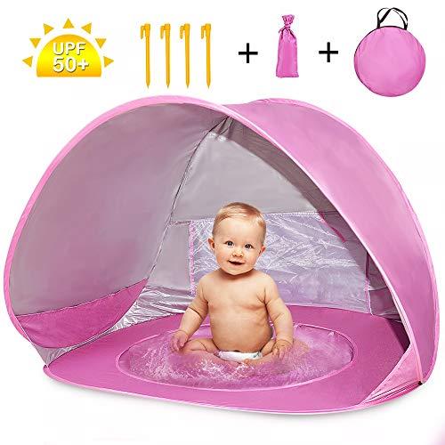 Nice2you Tenda da Spiaggia, Pop-up Tenda con Mini Piscina Parasole con Protezione Solare Anti-UV 50+ per Proteggere Il Bambino, Perfetta per Le Vacanze all'aperto in Spiaggia