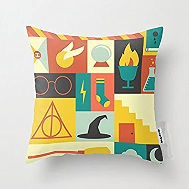 Decorbox Cotton Linen Throw Pillow Cover Cushion Case Harry Potter - 45 X 45 Cm Square Design (Standard)