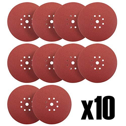 S&R Disque de Ponçage Papier Abrasifs Ø 225 mm. Jeu de 10 Disques - Grain 180 pour Ponceuse Girafe