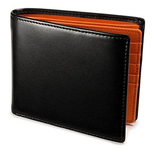[レガーレ] 隠しポケット付き 本革 二つ折り財布 カードたくさん入る 5色(オリジナル化粧箱入り) (オレンジ)