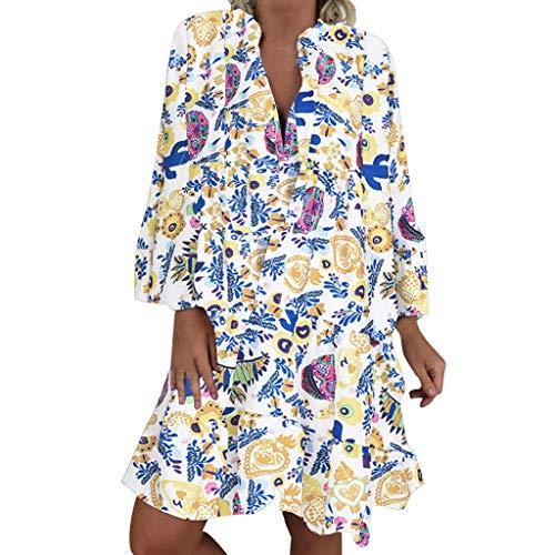 LOPILY Frauen Große Größen Blumenmuster Kleider Boho Stil Übergröße Sommerkleider Blumendruck Knielang Kleid Kurzarm Kleid Tunika Swing Kleid (Grün, 48)
