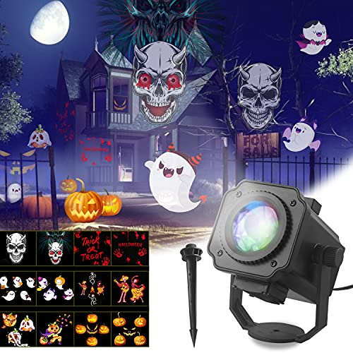 Dr. Prepare Halloween Projector Lights Outdoor,Holiday House Projector Light Ghost Projector Indoor with 12 Patterns and Ground Stake,Waterproof Scary Halloween Decorations for Garden,Christmas,Party