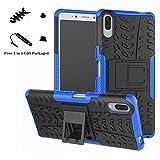 liushan xperia l3 custodia, protettiva shockproof rigida dual layer resistente agli urti con cavalletto caso per sony xperia l3 smartphone (not fit xperia l2),blu