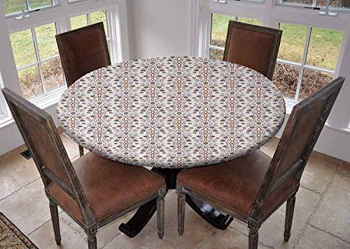 Ronde tafelkleed keuken decoratie, tafelblad met elastische randen, Bloem Complex Ontwerp met Zachte Kleuren Vintage Zomer Seizoen Gebladerte Print Roze Perzik Groen, Gedrukt tafelkleed
