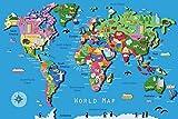Pirata Viejo Tesoro Mapa del Mundo Fiesta de cumpleaños Bebé Dibujos Animados Fondo fotográfico Fondo fotográfico Photocall Estudio fotográfico A17 10x10ft / 3x3m
