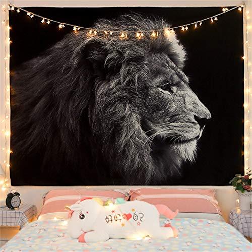 Oukerde Wandteppich Lebhafter Anime Schwarzweiss-Löwe, Tapestry Modernster Digitaldruck Technologie, Wandbehang Tiefer kontemplativer Löwe für Zimmer, Psychedelic Mandala
