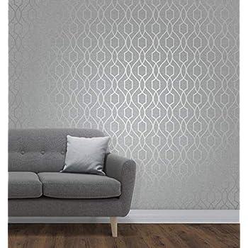 Fine Décor FD41995 UK Apex Trellis Sidewall Wallpaper, Stone/Silver