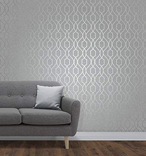 FD41571 Fine Décor Blue and Metallic Silver Geometric Circles Feature Wallpaper