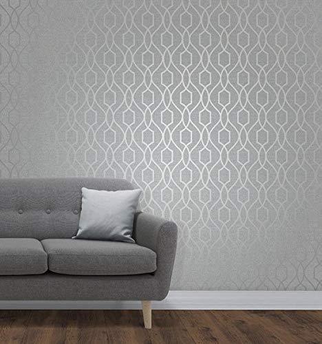 Fine Décor fd41995Reino Unido Apex celosía lateral papel pintado, piedra/plata