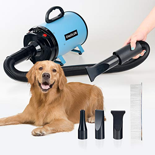 CHAOLUN High Velocity Pet Hair Dryer - Blower Grooming Dryer with Heater Dogs & Cats, 3.2HP 2400W Powerful Blow Force, Stepless Adjustable Speed,...