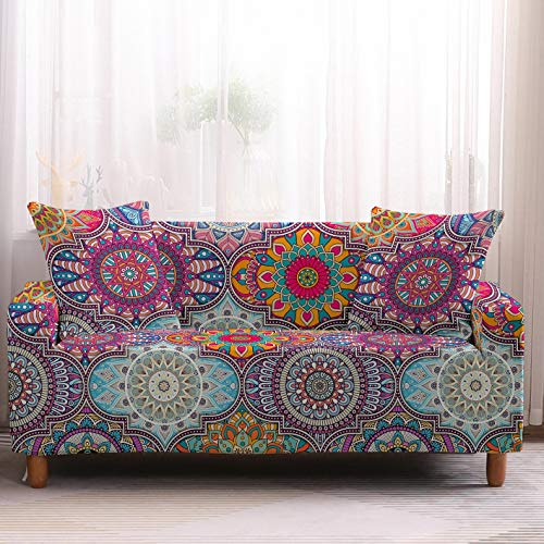 DMHunt Mandala Printed Sofa Cover Stretch Couch Cover Sofa Slipcovers for Couches and Loveseats with One Free Pillow Case(Mandala 1,Sofa 4 Seater)