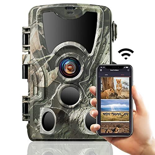 SUNTEKCAM 2.7K WiFi Cámara de vigilància 24MP Cámara de Caza con LED IR Visión Nocturna Cámara de Juego 120° Detección de Movimiento Activado IP66 Impermeable 2.4' LCD