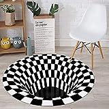 Vortex Illusion Rug,Optical Illusion Rug,3D Mat Rug Swirl Print Optical Illusion Floor Pad,Round Rug,Checkered Vortex Optical Illusions Non Slip Area Rug 3D Vortex Rug for Living Room,80cm/31.5inch