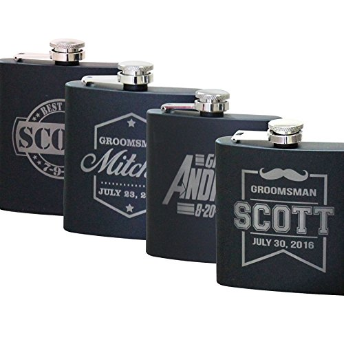 Personalized Black Matte Flask - Wedding Groomsmen - Custom Engraved and Monogrammed