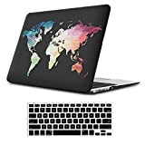 iLeadon MacBook Pro 13 Inch Case with CD ROM 2008-2012 Release Model A1278 Rubberized Hard Shell Cover+Keyboard Cover for MacBook Pro 13' Non Retina Display, Black Map