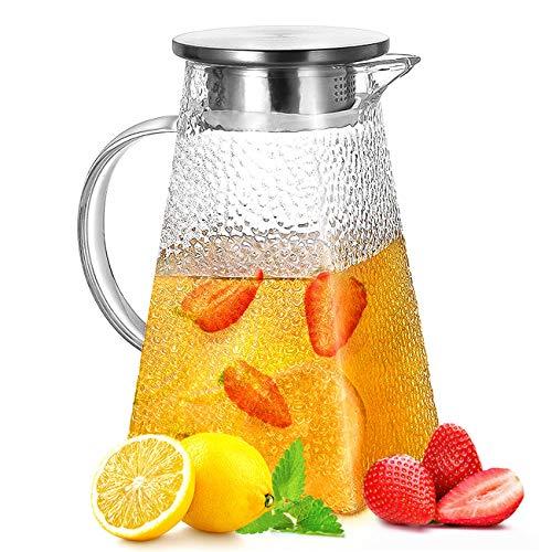 ANBET Caraffa per Acqua in Vetro da 1500 ml, caraffa in Vetro Quadrato Brocca di Vetro con Coperchio e Filtro per Acqua Calda/Fredda, tè Freddo, Succo di Frutta, caffè