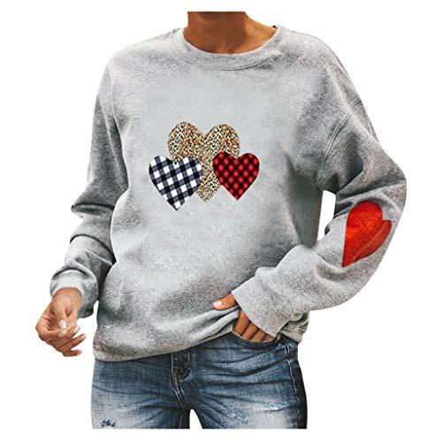 GreatestPAK Freizeit Pullover Damen Druck Rundhals Sweatshirt Langarm Valentinstag Herz-Print Bluse (S, Grau)
