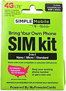 Simple Mobile SIM Card loaded with $40 plan Unlimited Talkx2022; Textx2022; 1GB Data , ready to activate