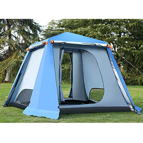2×2m Pop Up Outdoor Tents 4-6 Man Waterproof Double Layer Canopy,Garden Gazebo Instant Tent Camping Sun Shelter for All Seasons,Blue