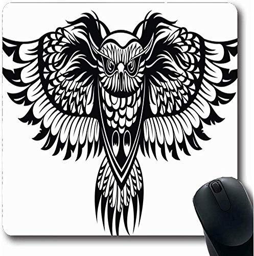 Mauspads für Computer Abstrakte Tattoo Eule Tribal Eagle Flying Wings Zeichnungswinkel Längliche Form Rutschfeste Längliche Gaming Mausunterlage 30X25CM