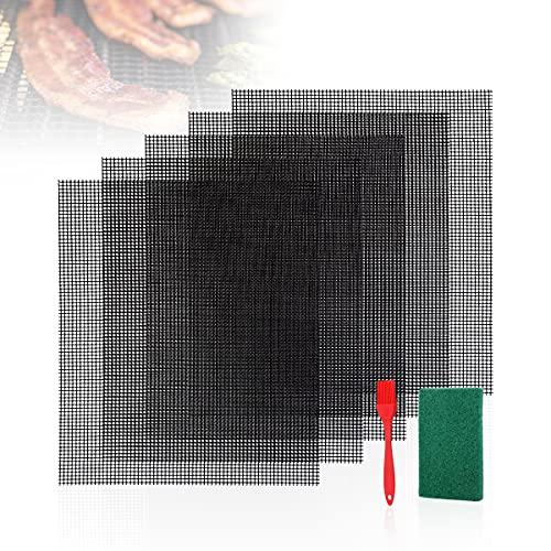 AIEVE Grillmatte für Gasgrill 5er Set Antihaft Wiederverwendbar BBQ Grillmatten mit Scheuerschwamm und Backpinsel für Holzkohlegrill Dörrautomat (Hitzebeständig bis 260 Grad, 36x42cm)