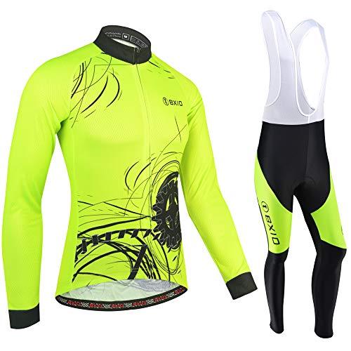 BXIO Invierno Polar de Lana Jersey de Ciclismo, Ropa de otoño de la Bicicleta Fluo Amarillo Cremallera Completa Ropa de Ciclismo MTB Road Bike Wear 183 (Summer Type(Long Sleeve and Bib Pants), 2XL)