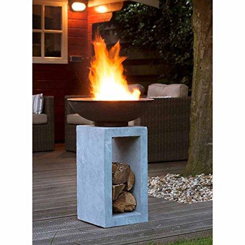 OUTLIV. Feuerschale auf Säule 39,5x39,5x68,5cm Clayfibre