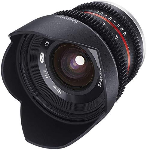 Samyang 12/2,2 Objektiv Video APS-C MFT manueller Fokus Videoobjektiv 0,8 Zahnkranz Gear, Weitwinkelobjektiv schwarz