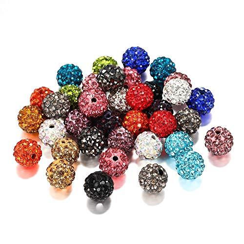 Lote de 10 cuentas espaciadoras de 10 mm de arcilla micropavé de diamantes de imitación, utilizadas para manualidades, pulseras, pendientes, joyas, fabricación de suministros