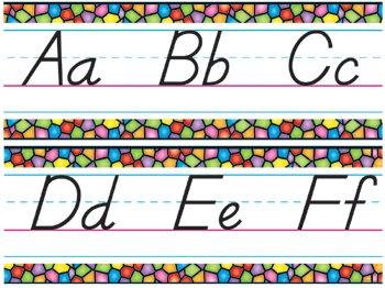 Stained Glass Alphabet Line Manuscript Modern - T-8245 (Bulletin Board Set)