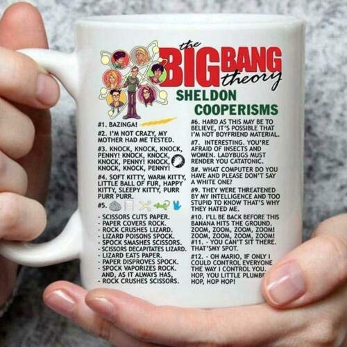 Lplpol Lustiges Geschenk für Kaffee und Tee, The Big Bang Theory Sheldon Cooperisms, Keramik, Weiß, 325 ml