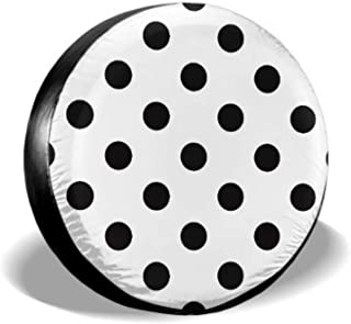 KUneh Black White Polka Dot Pattern Tire Wall Protector Tires Protector Tire Cover Waterproof Uv Sun 14 - 17 Fit for Jeep Trailer Rv SUV and Many Vehicle