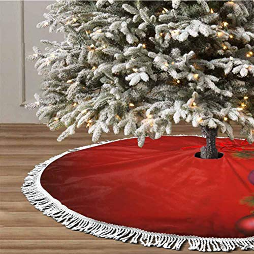 Christmas Tree Skirt, 48 inches Christmas Decoration Fringed Lace (Christmas Theme) for Christmas Decorations for Xmas Party and Holiday Decorations