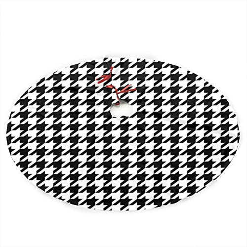 WJJSXKA Christmas Tree Skirt Black White Houndstooth Pattern Classical Print Rustic Christmas Tree Skirt Polyester Christmas Tree Skirts Carpet for Party Holiday Decorations Xmas Ornaments