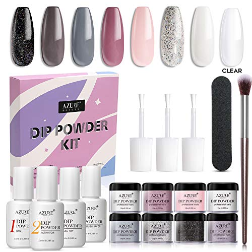 AZUREBEAUTY Nude Gray 8 Colors Dipping Powder Nail Starter Kit Acrylic Dipping Powder System Essential Kit for French Nail Manicure Nail Art Set