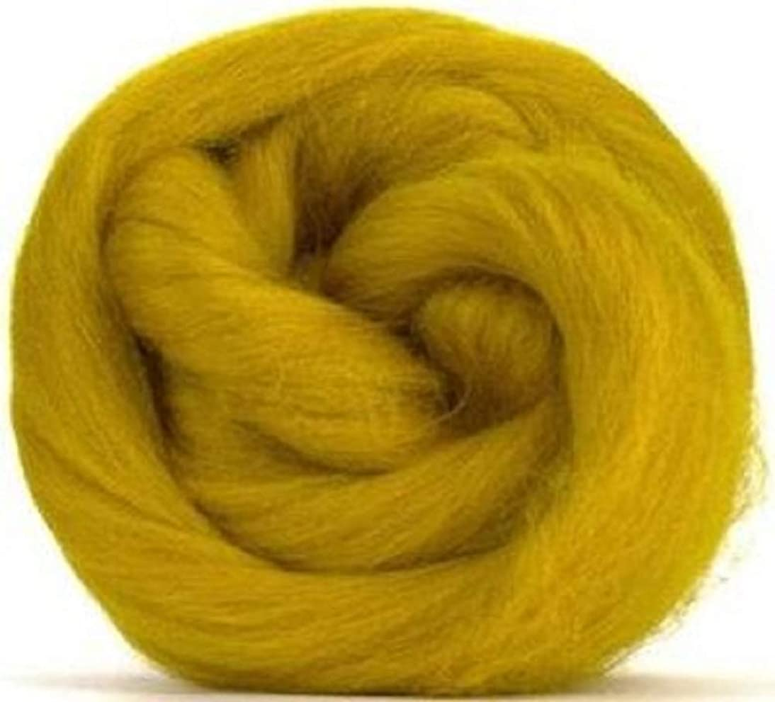 4 oz Paradise Fibers Mustard (Yellow) Corriedale Top Spinning Fiber Luxuriously Soft Wool Top Roving for Spinning with Spindle or Wheel, Felting, Blending and Weaving