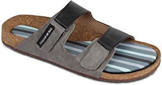 Colour Me Mad Mens Natural Cork Sandals Adjustable Strap Casual Regular Wear Slipons All Weather Extra Soft PETA Certified Made in India Washable flip Flop